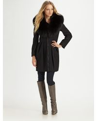 Alice + Olivia - Black Campbell Fox Fur Collar Coat - Lyst