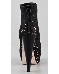Alice + Olivia - Black Paige Haircalf Platform Booties - Lyst