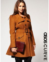ASOS Collection | Brown Asos Curve 70s Fit and Flare Coat | Lyst