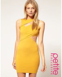 ASOS Collection | Yellow Asos Petite Exclusive Cut Out Wrap Bodycon Dress | Lyst