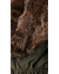 Elizabeth and James - Green Military Parka with Fur Trim - Lyst