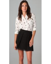 Juicy Couture | White Printed Silk Blouse | Lyst