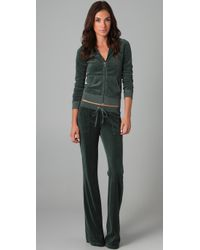 Juicy Couture - Green Velour Snap Pocket Pants - Lyst