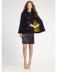 MILLY | Blue Sienna Wool-blend Cape | Lyst