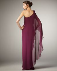 Notte by Marchesa | Purple Cape-sleeve Gown | Lyst