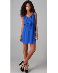Rebecca Taylor - Blue Sweetheart Dress with Ruffle - Lyst
