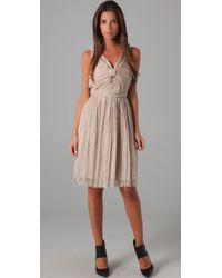 Robert Rodriguez | Natural Pleated Chiffon Bow Dress | Lyst