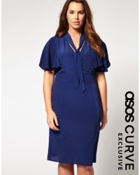 ASOS Collection - Blue Asos Curve Exclusive Pencil Dress with Cape Detail - Lyst