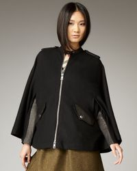 Burberry Brit | Black Leather-trimmed Wool-felt Cape | Lyst