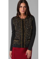 Elie Tahari | Brown Rachel Sweater with Tweed Front | Lyst
