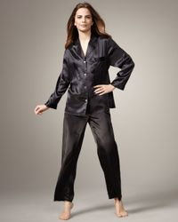 Neiman Marcus Classic Silk Pajamas, Black