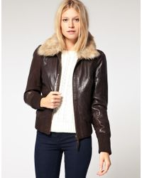 Oasis | Brown Fur Collar Bomber Jacket | Lyst