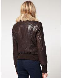 Oasis - Brown Fur Collar Bomber Jacket - Lyst