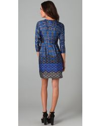 Tibi | Blue 3/4 Sleeve Shift Dress | Lyst