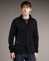 John Varvatos | Black Fleece-lined Waffle-knit Jacket for Men | Lyst