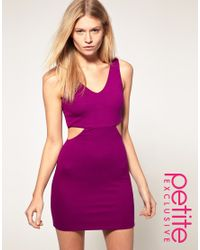 ASOS Collection - Purple Asos Petite Exclusive Mini Dress with Cross Back Cut Out Side - Lyst