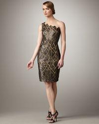 Tadashi Shoji - Black One-shoulder Illusion Print Dress - Lyst