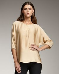 VINCE | Natural Zip-front Silk Tunic, Cosmetic | Lyst