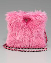 Prada | Pink Eco Pelliccia Faux Fur Satchel | Lyst