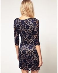 ASOS Collection - Blue Asos Petite Exclusive Slash Neck Lace Dress with Contrast Lining - Lyst