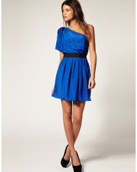 ASOS Collection - Green Asos One Shoulder Drape Dress with Pleats To Skirt - Lyst