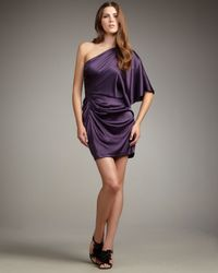 Aidan Mattox - Purple Flutter-sleeve Grecian Dress - Lyst