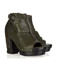 Alexander Wang | Green Claudia Cutout Leather Ankle Boots | Lyst
