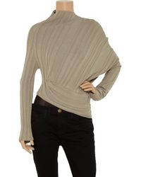 Alexander Wang | Brown Asymmetric Ribbed Cotton Sweater | Lyst