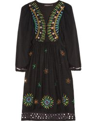 Antik Batik | Black Sara Embroidered Woven-jersey Dress | Lyst