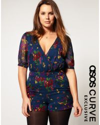ASOS Collection | Multicolor Asos Curve Exclusive Playsuit in 40s Floral Print | Lyst