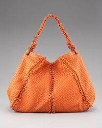 Bottega Veneta   Orange Fringe-detailed Woven Hobo, Fire Opal   Lyst