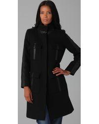 DKNY | Black Funnel Neck Coat | Lyst