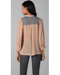 Dolan - Pink Lived in Lace Up Blouse - Lyst