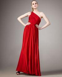 Halston | Jerry One-shoulder Dress, Red | Lyst