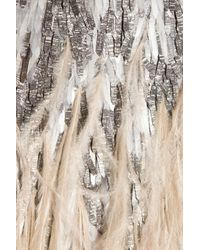 Matthew Williamson | Gray Feather and Sequin-embellished Silk Skirt | Lyst