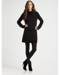 Theory | Black Shad Wool-blend Turtleneck Sweater Dress | Lyst
