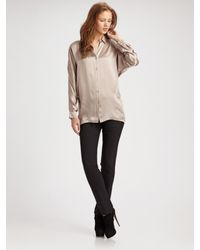 Vince | Pink Tuck Silk Long-sleeve Top | Lyst