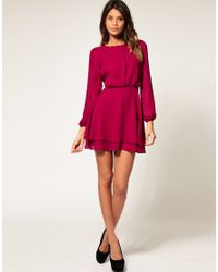 ASOS Collection | Pink Asos Mini Dress with Double Layer Skirt | Lyst