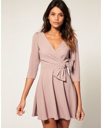 ASOS Collection | Pink Asos Wrap Dress with Bow Detail | Lyst