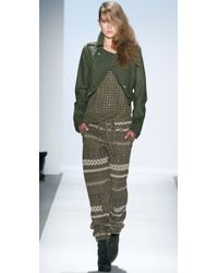 Charlotte Ronson | Green Fair Isle Knit Pants | Lyst
