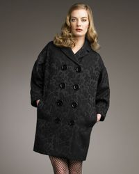 Dolce & Gabbana | Black Large-button Jacquard Coat | Lyst
