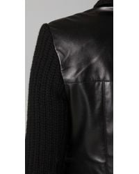 Sachin & Babi | Black Harley Faux Leather and Cable-knit Motorcycle Jacket | Lyst
