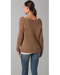Vince - Brown Scoop Neck Sweater - Lyst