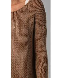 VINCE | Brown Scoop Neck Sweater | Lyst