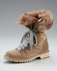 Brunello Cucinelli | Brown Fur-lined Suede Hiker Boot | Lyst