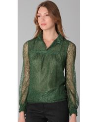 RED Valentino - Green Mock Neck Lace Blouse - Lyst