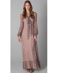 RED Valentino | Brown Long Sleeve Floral Maxi Dress | Lyst