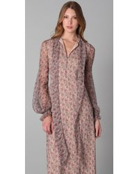 RED Valentino - Brown Long Sleeve Floral Maxi Dress - Lyst