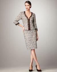Tahari - Black V-neck Tweed Suit - Lyst