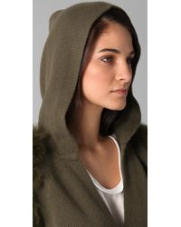 3.1 Phillip Lim - Green Hooded Wrap Cardigan with Fur Sleeves - Lyst
